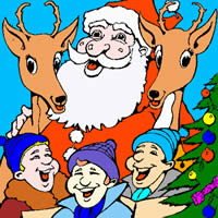 Раскрась Деда Мороза